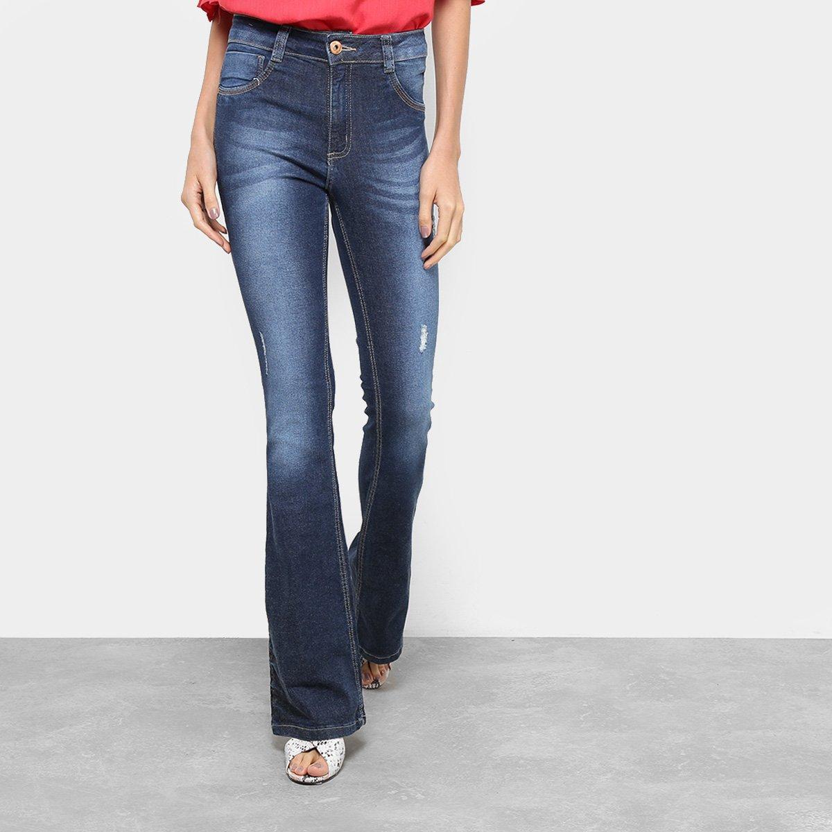 Calça Jeans Flare Biotipo Estonada Puídos Cintura Alta Feminina ... 841cb95ed2