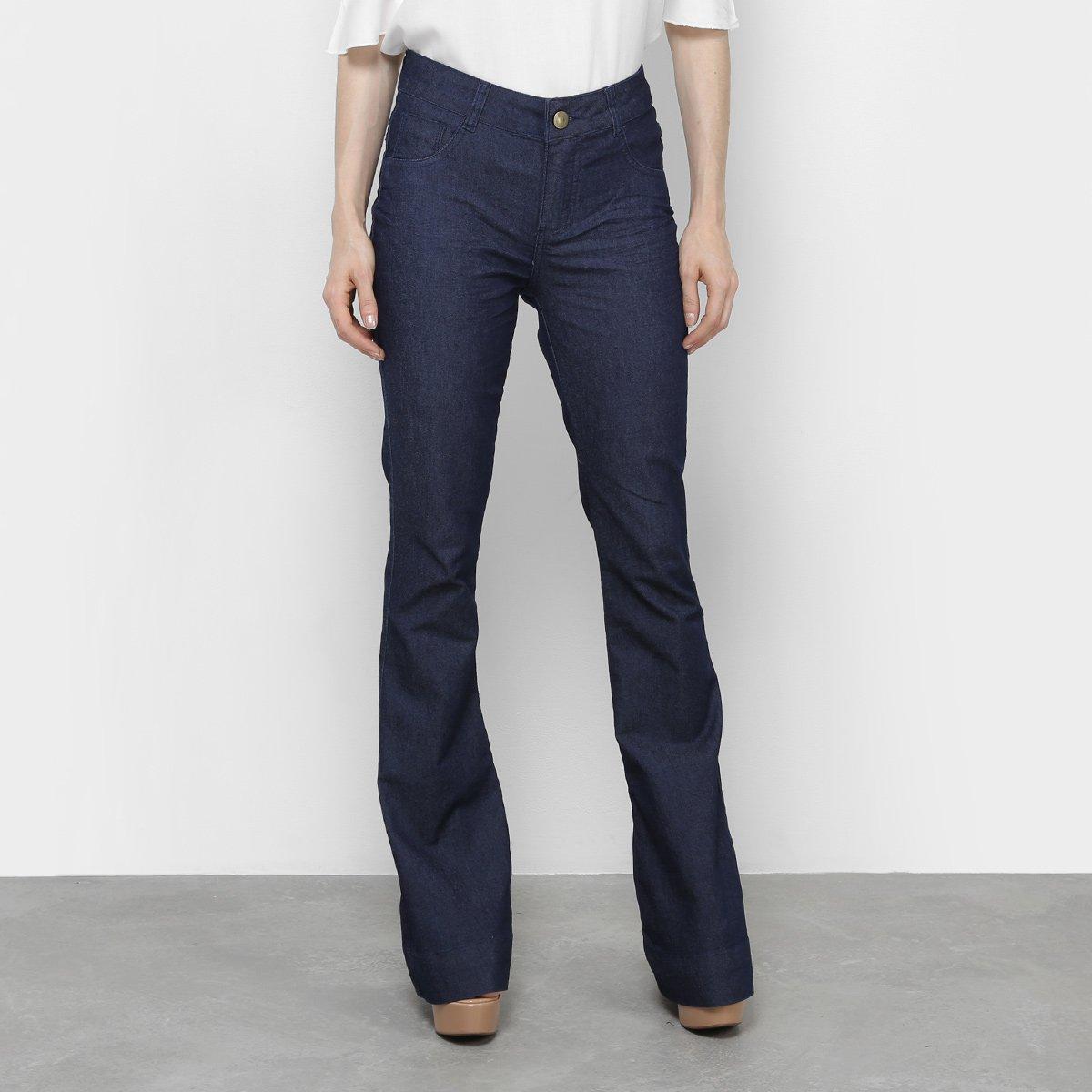 Calça Jeans Flare Coffee Amarração Cintura Média Feminina - Jeans ... 1d6e6b0fc58