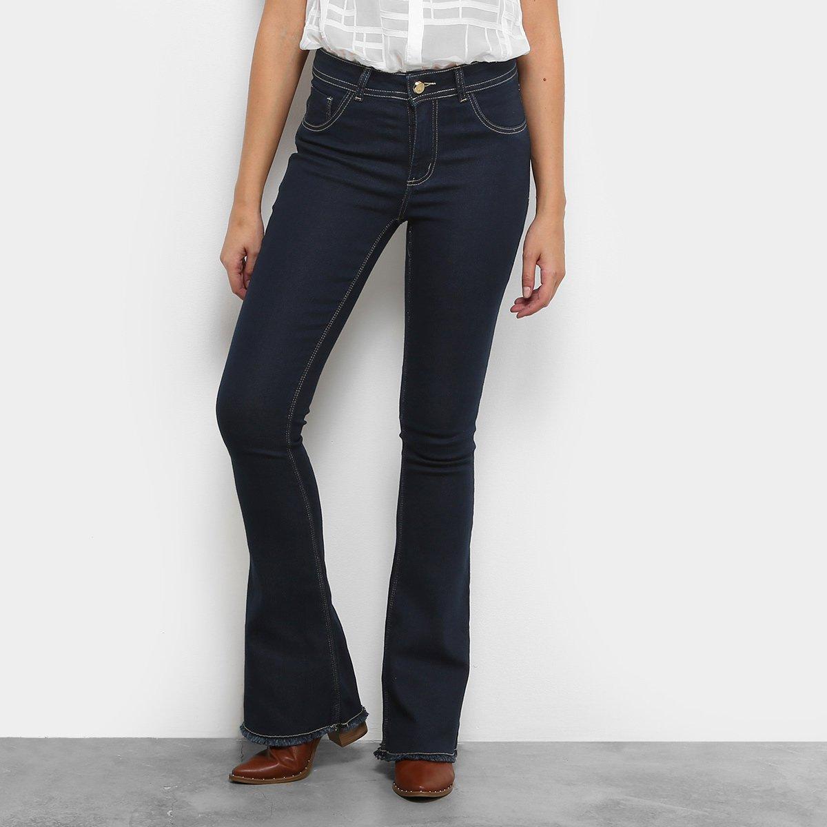 Calça Jeans Flare Coffee Barra Desfiada Cintura Alta Feminina - Compre  Agora   Netshoes 95361375d6