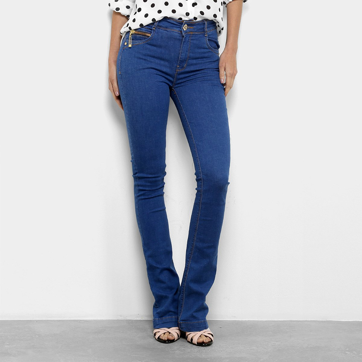 Dimy Calça Jeans Calça Feminina Alta Jeans Azul Cintura Flare ISnvqx55PO