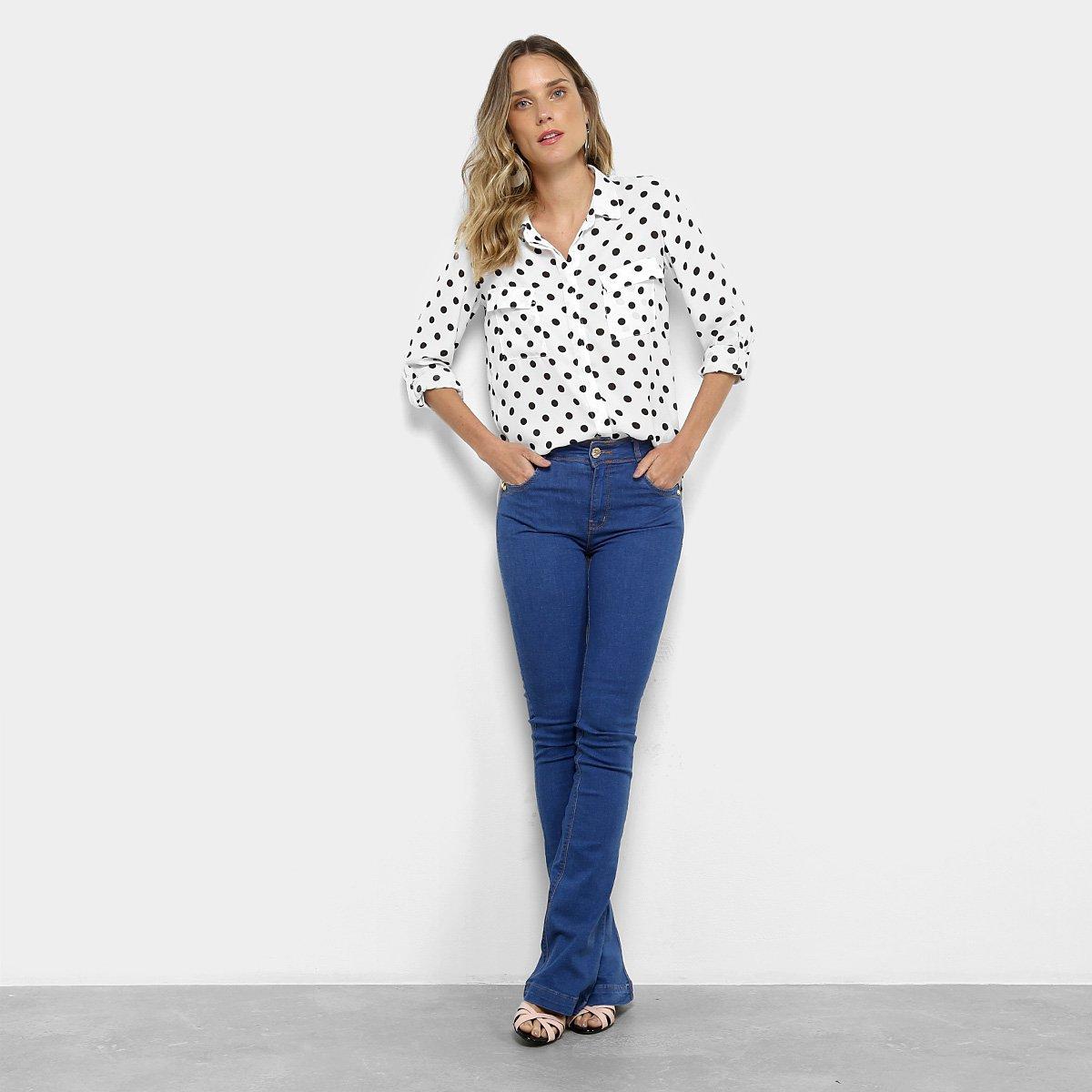 Flare Calça Alta Jeans Dimy Jeans Azul Feminina Calça Cintura RUOwq7