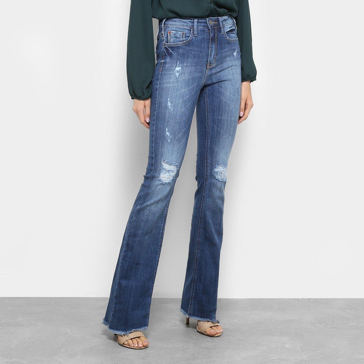 Calça Jeans Flare Forum Estonada Cintura Alta Feminina - Azul ... cd5817ef34