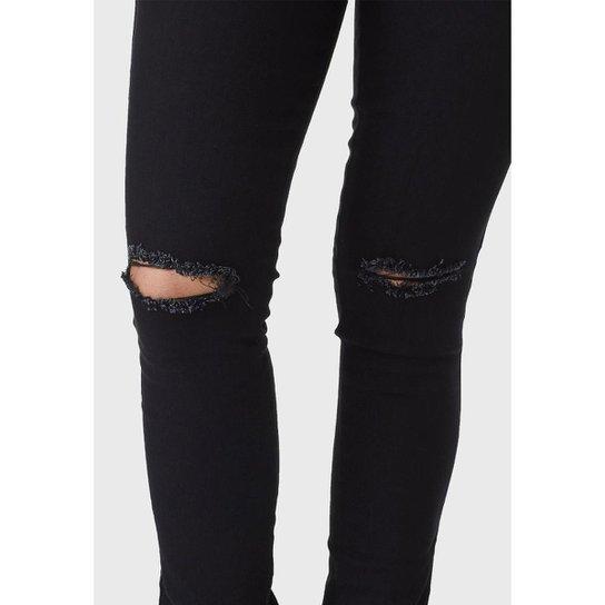 Calça Jeans HNO Jeans Skinny Rasgada Preta - Preto