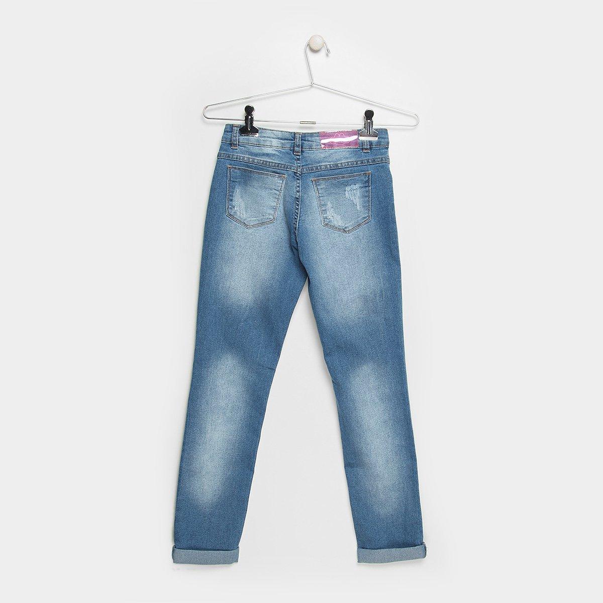 Ripilica Calça Feminina Jeans Jeans Desfiada Infantil Infantil Lilica Calça Estonada Azul zrYxzOq