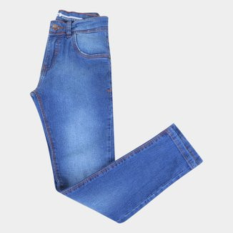 Calça Jeans Juvenil Gansgter Cintura Média Masculina