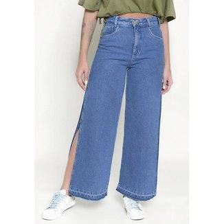 Calça Jeans Lemier Wide Leg com Abertura Lateral