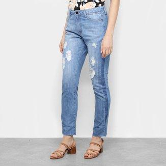 Calça Jeans Maria Filó Destroyed Cintura Média Feminina