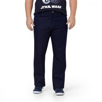 Calça Jeans Masculina Regular Liso Cintura Média Com Bolso