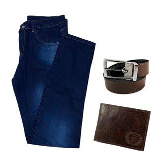 Calça Jeans Masculina Skinny Com Elastano + Carteira + Cinto