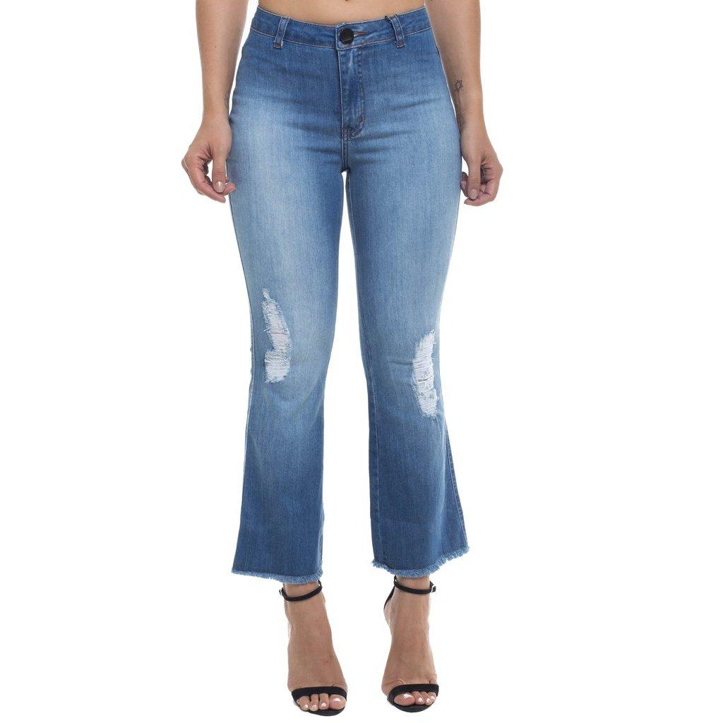 Azul Calça Flare Rise Z Jeans Cropped Mid Feminina 32 rC8wrpq