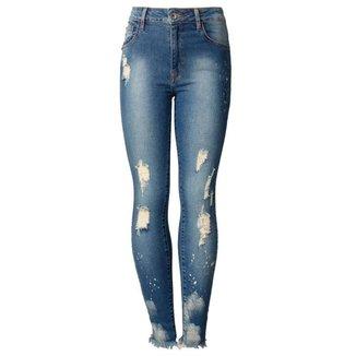 Calça Jeans Midi Skinny Curta Lyon John John Feminina