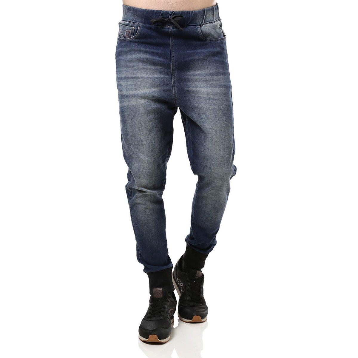 Calça Jeans Moletom Masculina Jogger Azul - Compre Agora  0f80620bc0cce