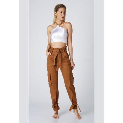 Calça Jeans Outlet Premium Mom Clochard Priscila Amarela
