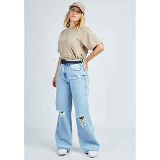 Calça Jeans Pantalona Blue Claro Rasgos