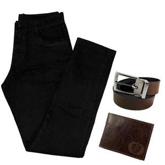 Calça Jeans Preta Masculina Skinny Com Elastano + Carteira + Cinto
