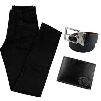 Calça Jeans Preta Skinny Masculina Com Elastano + Carteira + Cinto