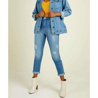 Calça Jeans Puídos Feminina Cigarrete Biotipo - 10045891359