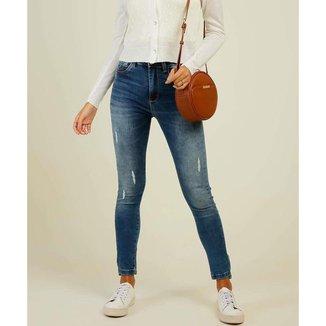 Calça Jeans Puídos Feminina Skinny Sawary - 10046972644