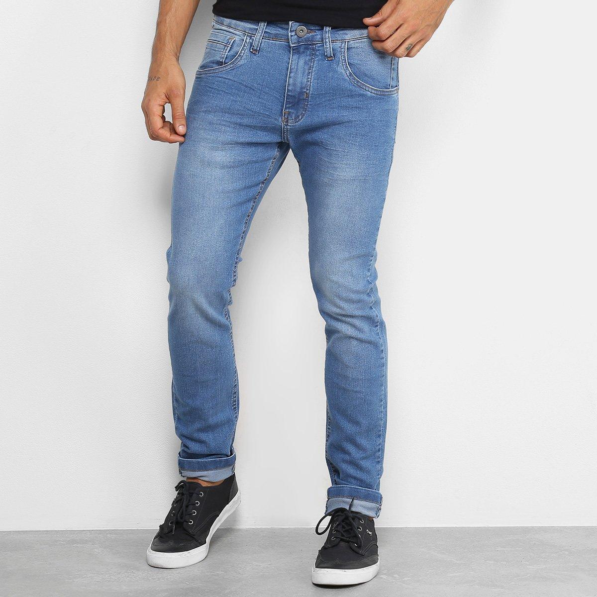 f08826658a Calça Jeans Rock & Soda Skinny Estonada Masculina - Azul Claro | Netshoes