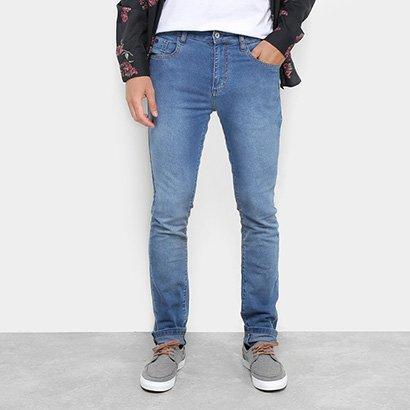 7818aea42 Calça Jeans Skinny Acostamento Estonada Cintura Média Masculina