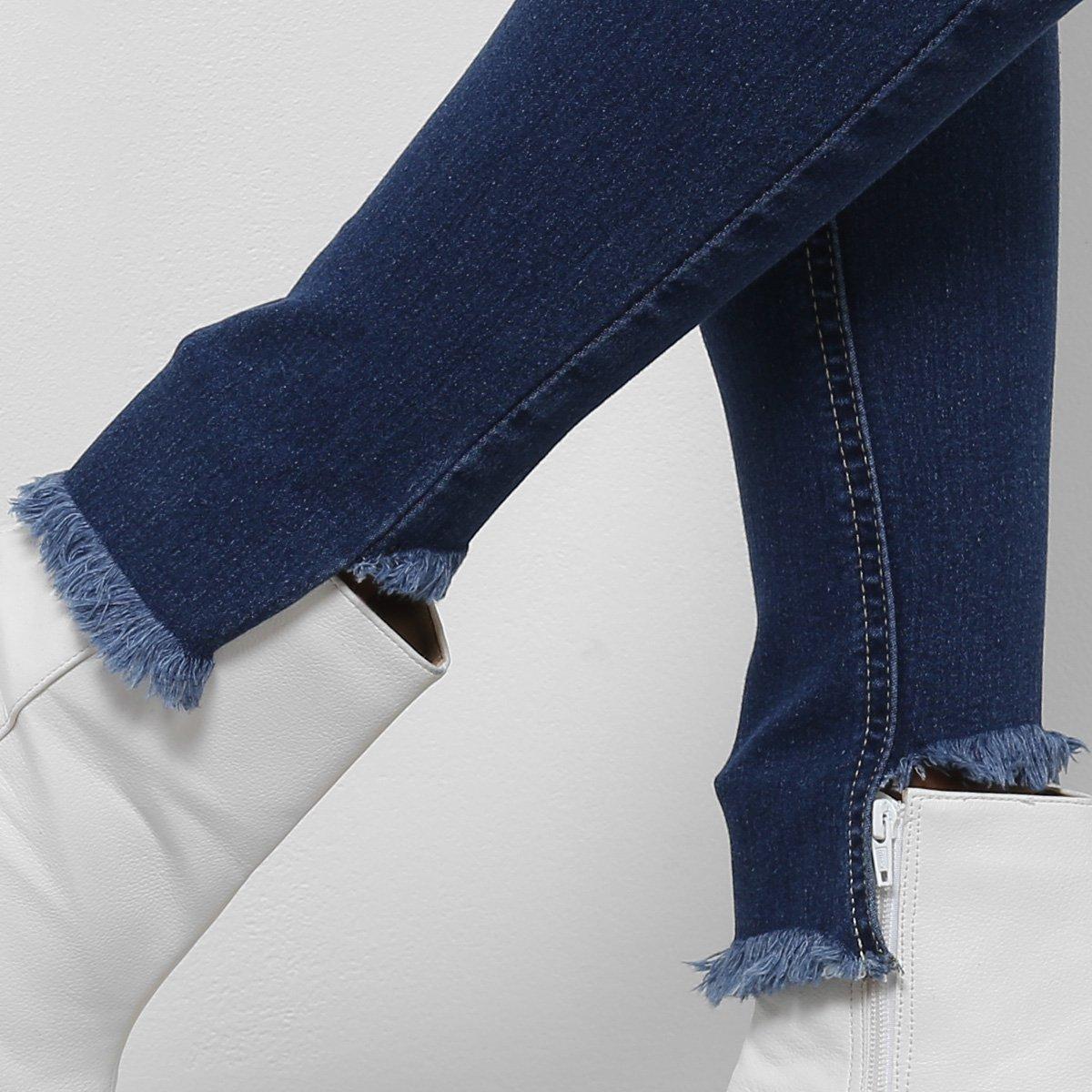 Calça Feminina Escuro Botões Jeans Alta Azul Cintura Coffee Skinny BwPRCq4Z