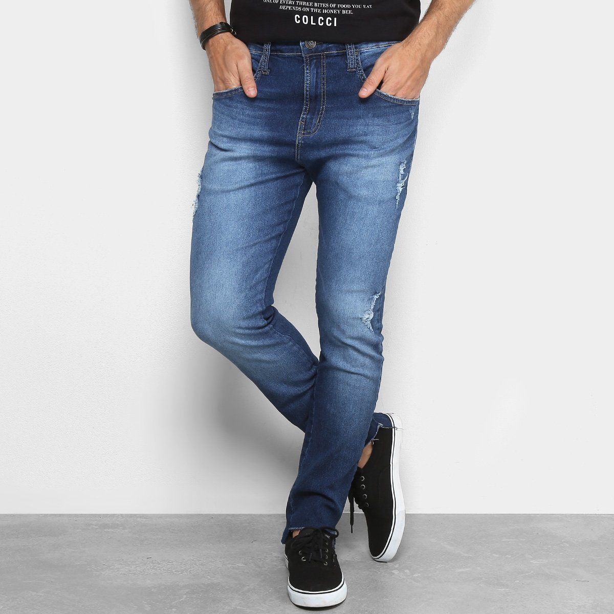 fd0d8536b Calça Jeans Skinny Colcci Enrico Estonada Puídos Masculina - Azul | Netshoes