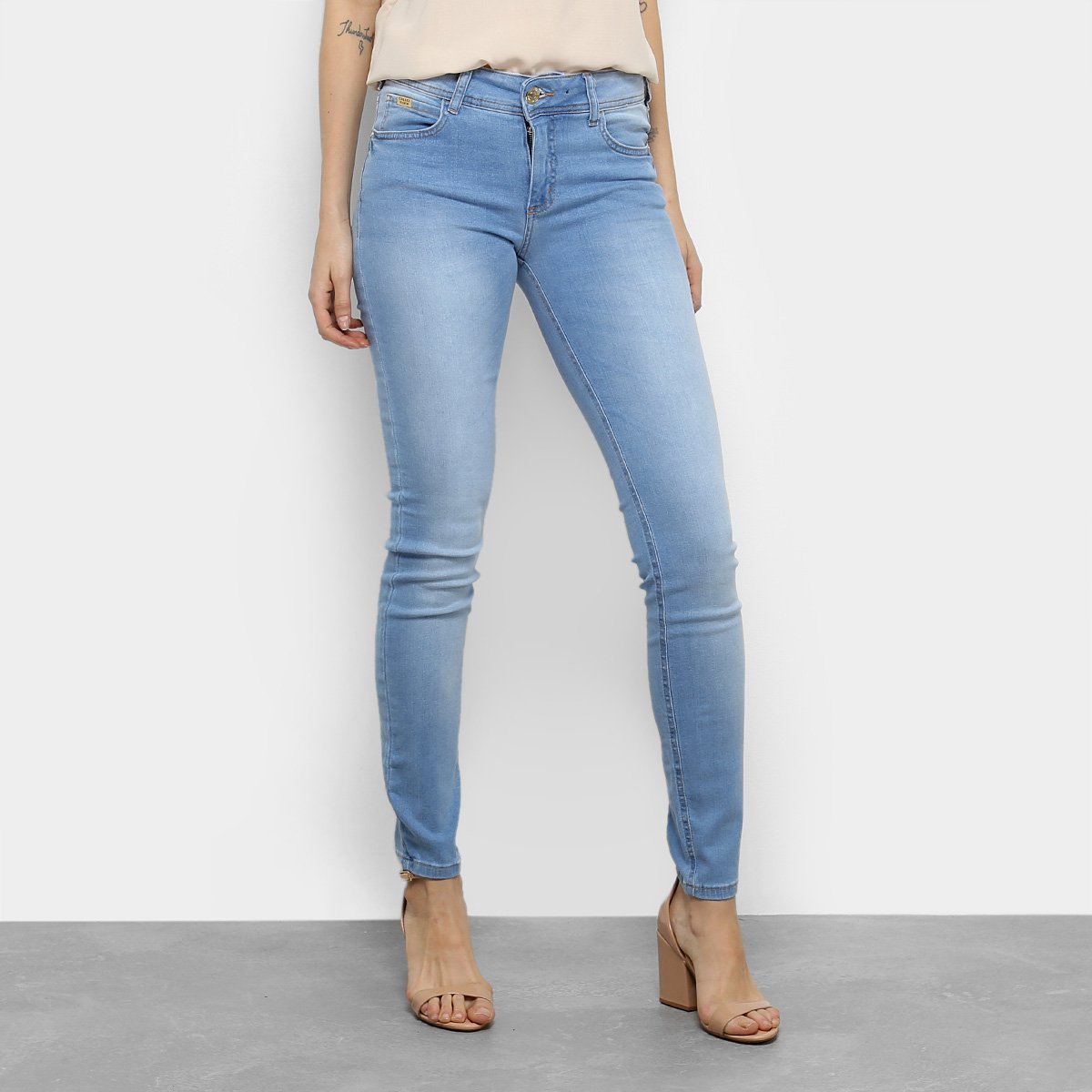 034092892 Calça Jeans Skinny Colcci Fátima Cintura Média Feminina - Azul   Netshoes
