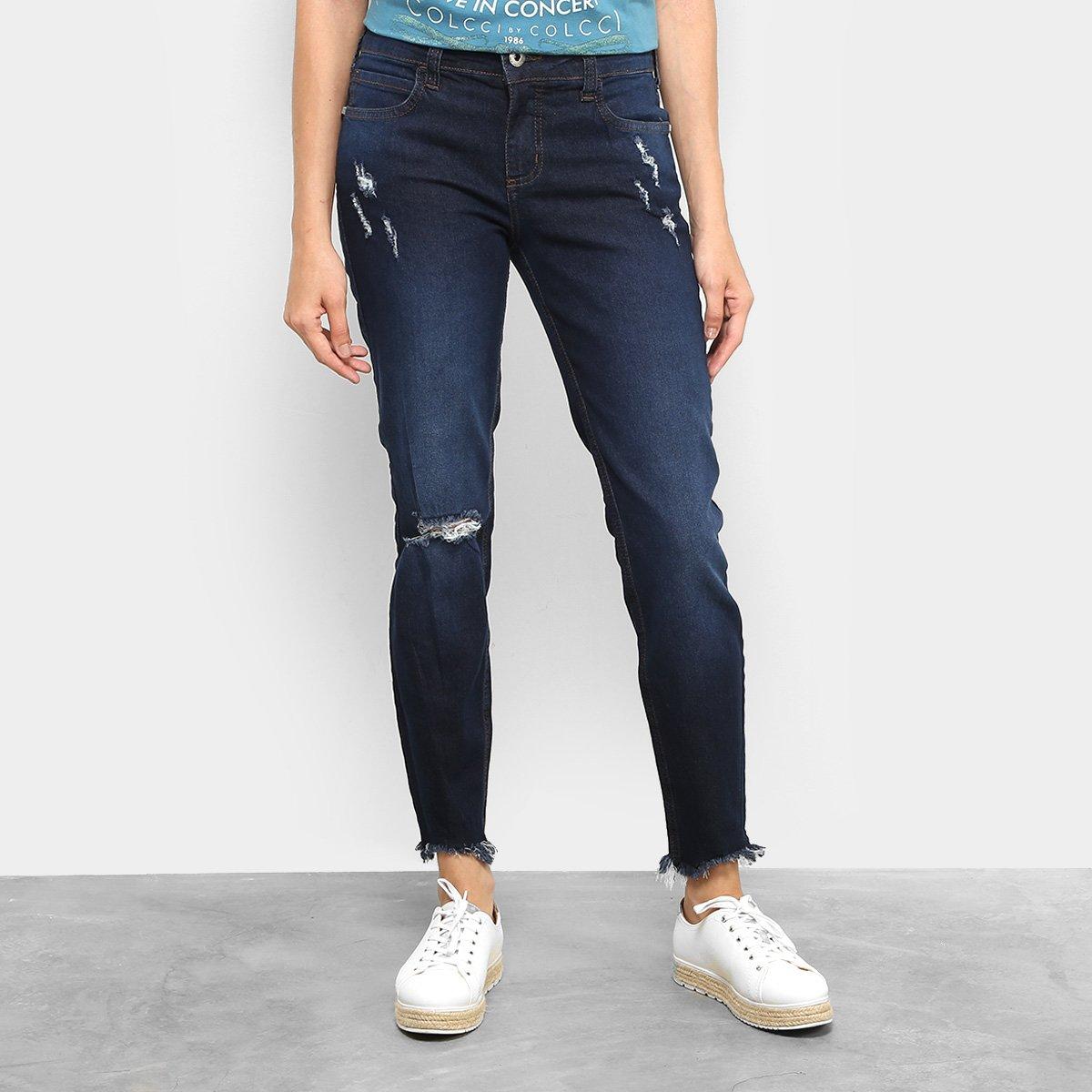 c6cf121df Calça Jeans Skinny Colcci Fátima Puídos Cintura Média Feminina | Netshoes