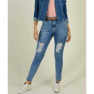 Calça Jeans Skinny  Destroyed Feminina