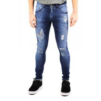 Calça Jeans Skinny Destroyed Zip Off