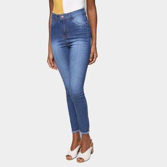Calça Jeans Skinny Ecxo Barra Desfiada Cintura Média Feminina