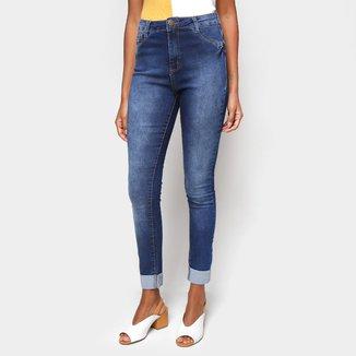 Calça Jeans Skinny Ecxo Barra Dobrada Cintura Média Feminina