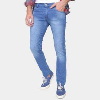 Calça Jeans Skinny Ecxo Estonada Cintura Média Masculina