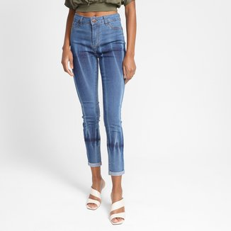 Calça Jeans Skinny Grifle Cintura Alta Feminina