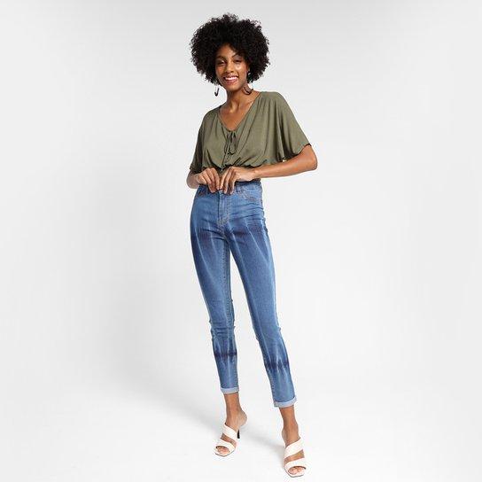 Calça Jeans Skinny Grifle Cintura Alta Feminina - Azul