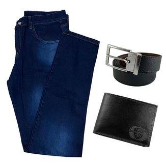 Calça Jeans Skinny Masculina Com Elastano + Carteira + Cinto