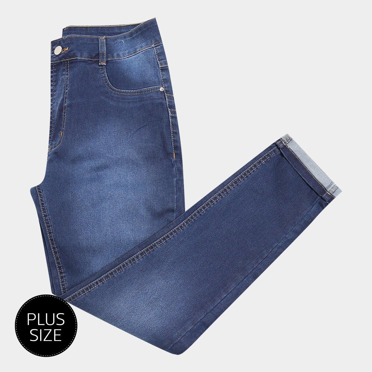 ffd876f67 Calça Jeans Skinny Sawary Estonada Cintura Alta Plus Size Feminina |  Netshoes