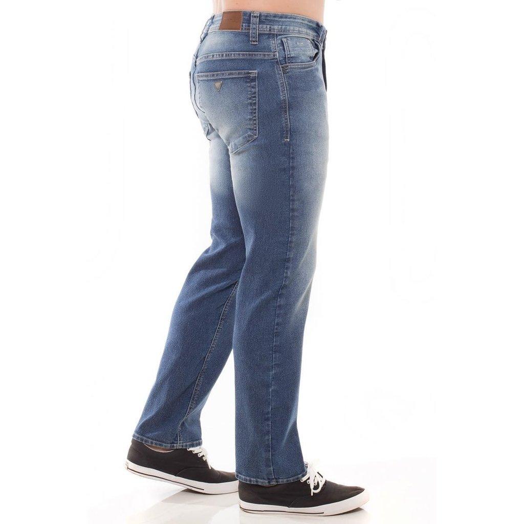 Calça Azul Jeans Slim Masculina Calça Eventual Fit Jeans PWOdP