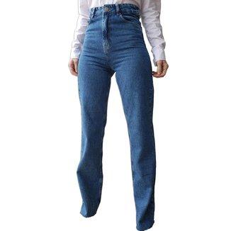 Calça Jeans Wide Leg Cintura Alta Snapkin
