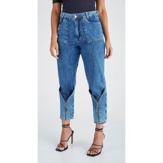 Calça jeans zait mom giulia - Azul