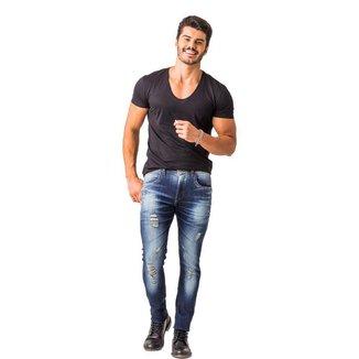 Calça Jeans Zune Masculina Skinny Destroyed Dia a Dia Casual