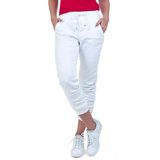Calça Jogger Color em Sarja de Moletom Feminina - Branco