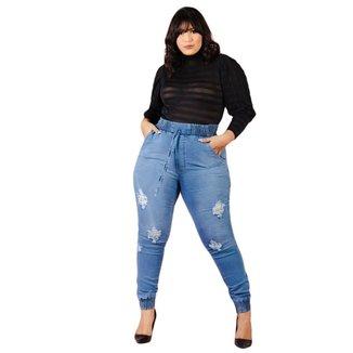 Calça Jogger Feminina Plus Size Jean Lançamento Cintura Alta