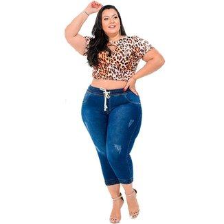 Calça Jogger Jeans Plus Size Feminina Adulto