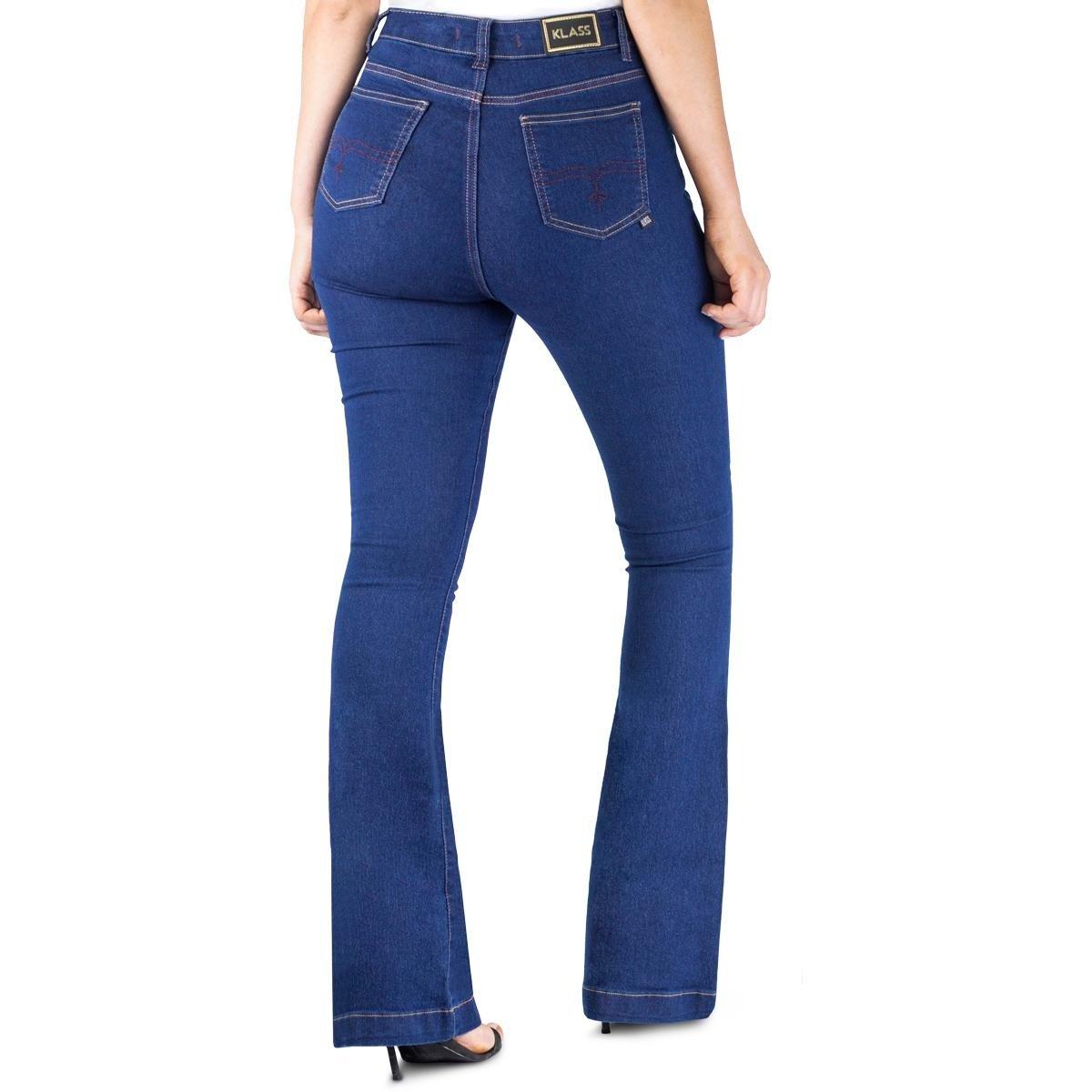 Calça Klass Escuro Azul Jeans Calça Feminina Klass Flare Amaciada 5wUpvq
