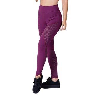 Calça Legging Academia com detalhe em Tela Malbec Poliamida Fitness Ref 5014B
