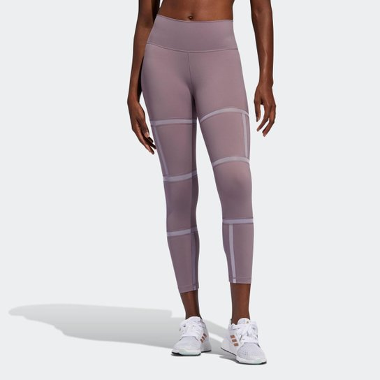 Calça Legging Adidas Longa Mesh Believe This 2.0 Geo Feminina - Roxo
