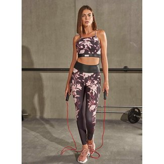 Calça Legging Colcci Fitness 0025701046 - Preto+Floral - M