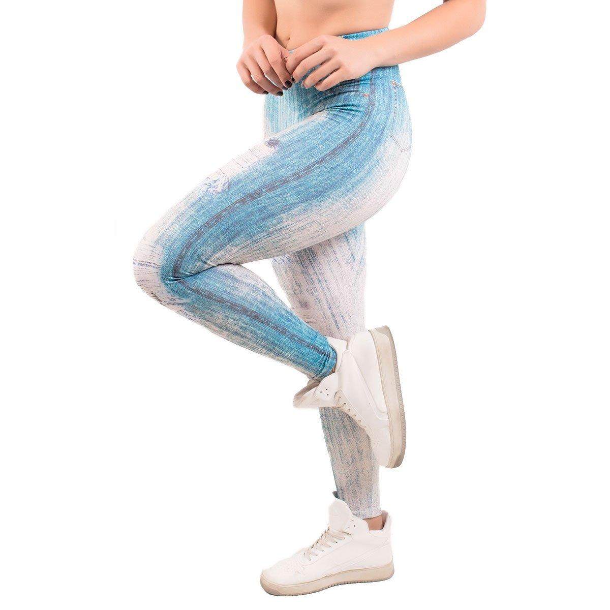 Azul Calça legging Rasgo Claro Fake Calça com Jeans Fake legging Fake 71AqzHA