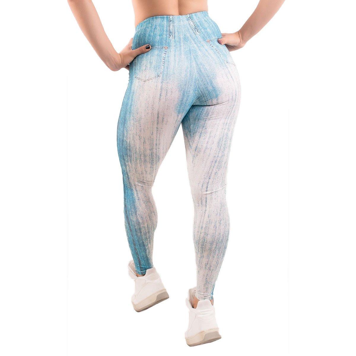 Fake legging Calça Azul legging Fake com Jeans Calça Claro Rasgo q1tnEnaF7